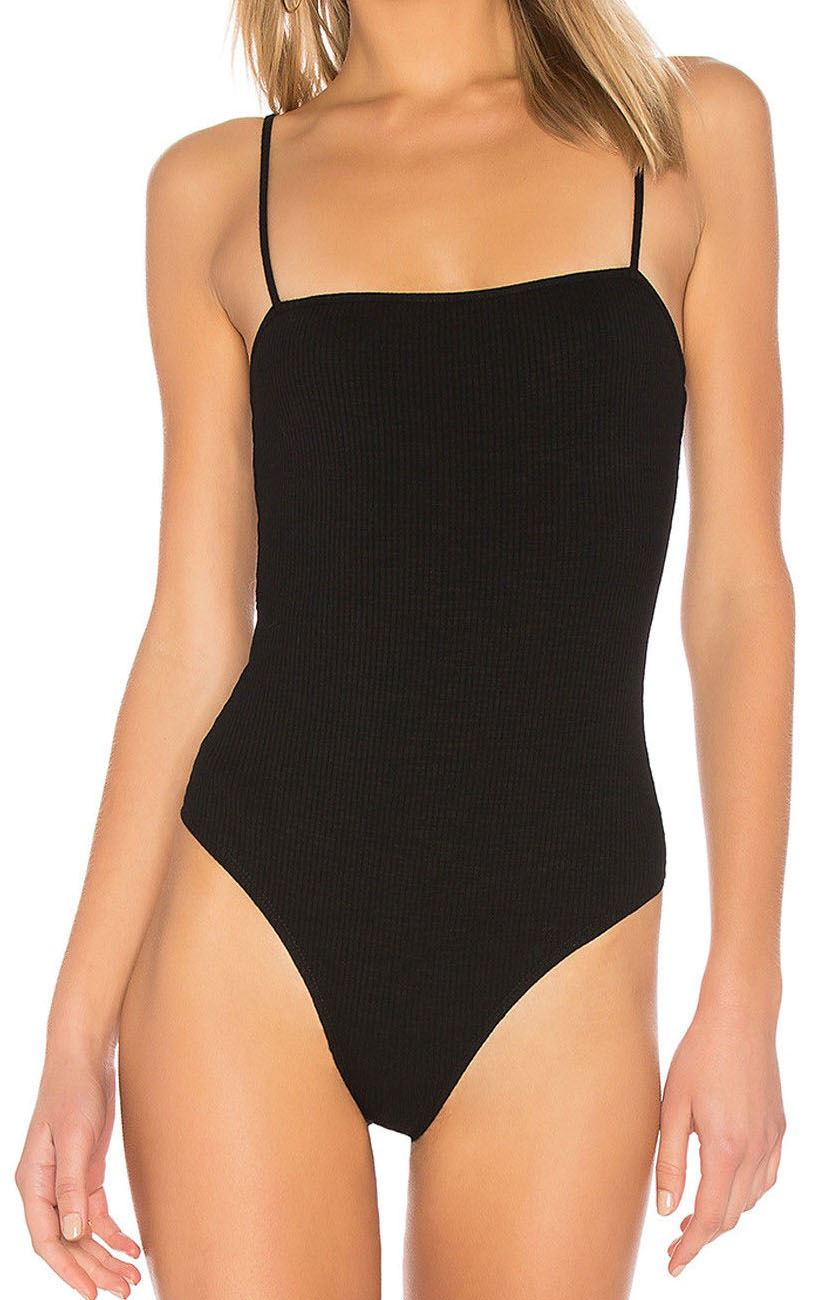 New Womens Ribbed Square Neck Cami Strappy Sleeveless Leotard Bodysuit Top 8-26