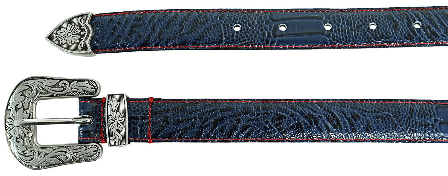 Ladies Floral Silver Buckle Tapered Edge Crocodile Textured Leather Belts M-4XL