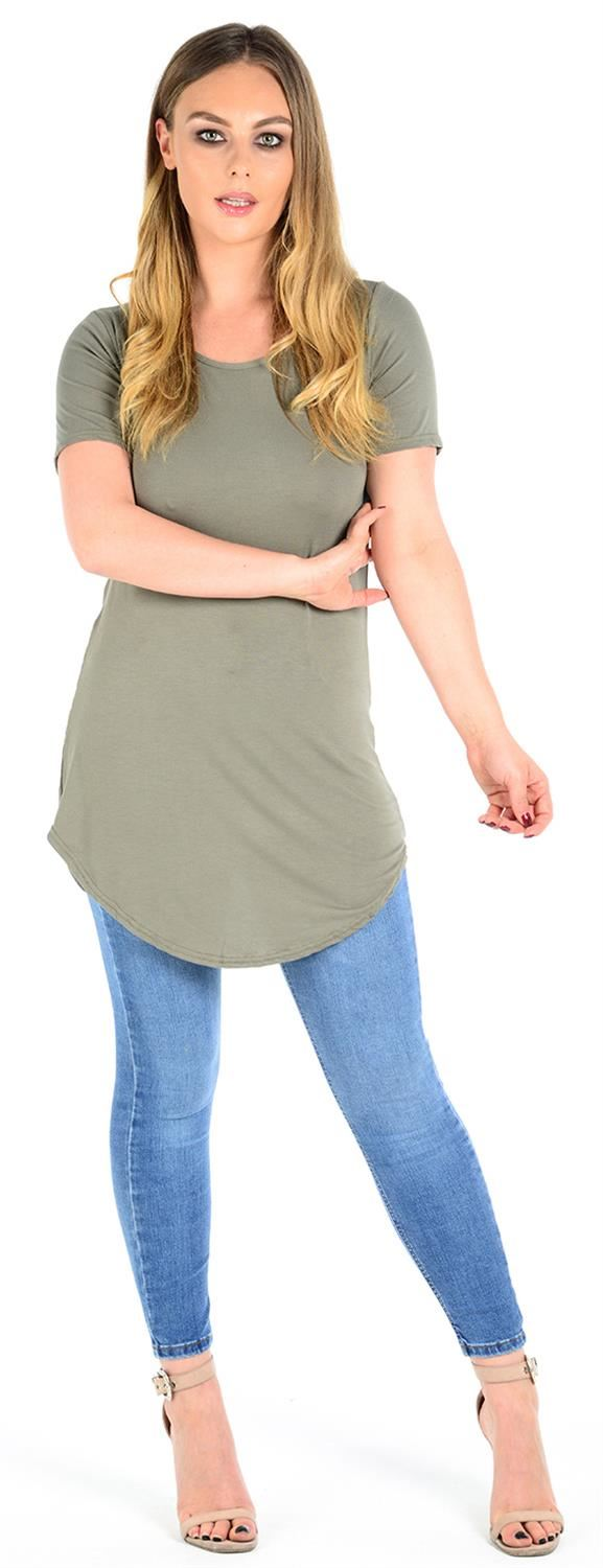 New Womens Back Open Curved Hem Short Sleeve Tunic Tops 8-22