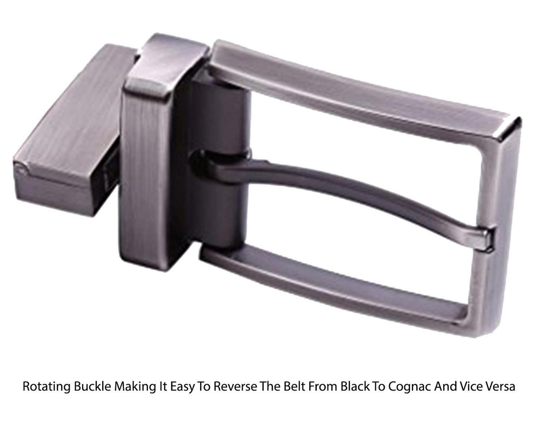 New Mens Classic Reversible Cognac Black 35mm Width Premium Leather Belts