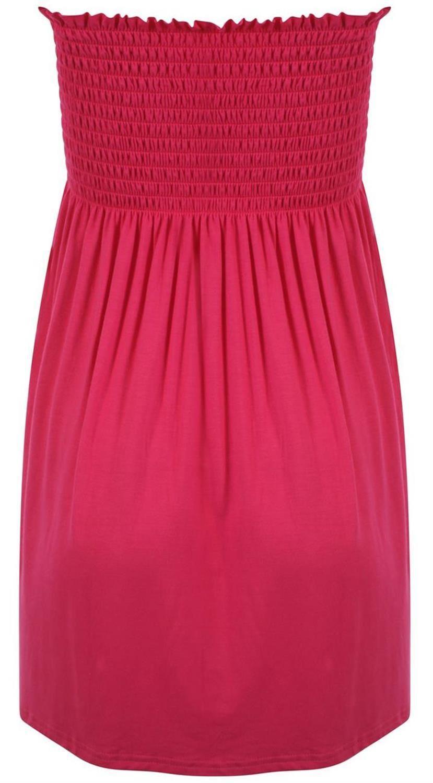 Ladies Plus Size Cerise Strapless Stretch Sheering Boob Tube Summer Beach Tops