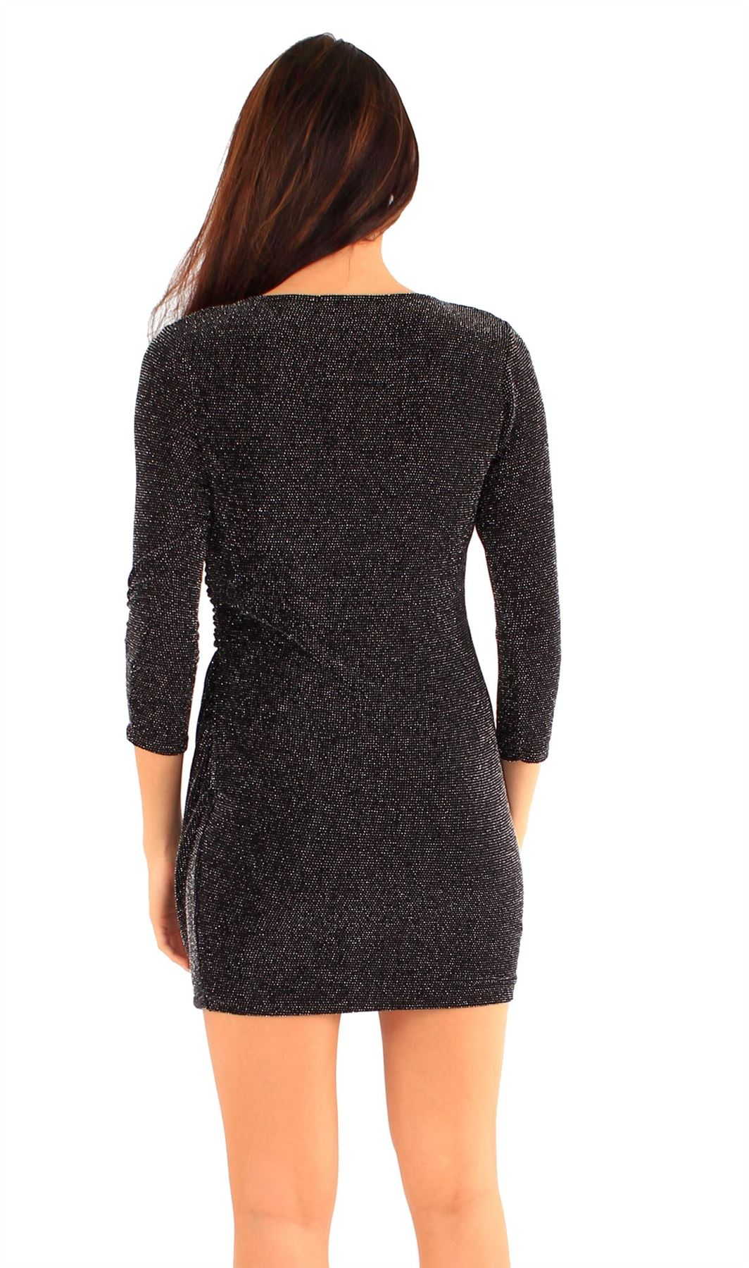 New Womens Sparkle Warp Over Going out ¾ Sleeve Evening Drape Dress 8-14