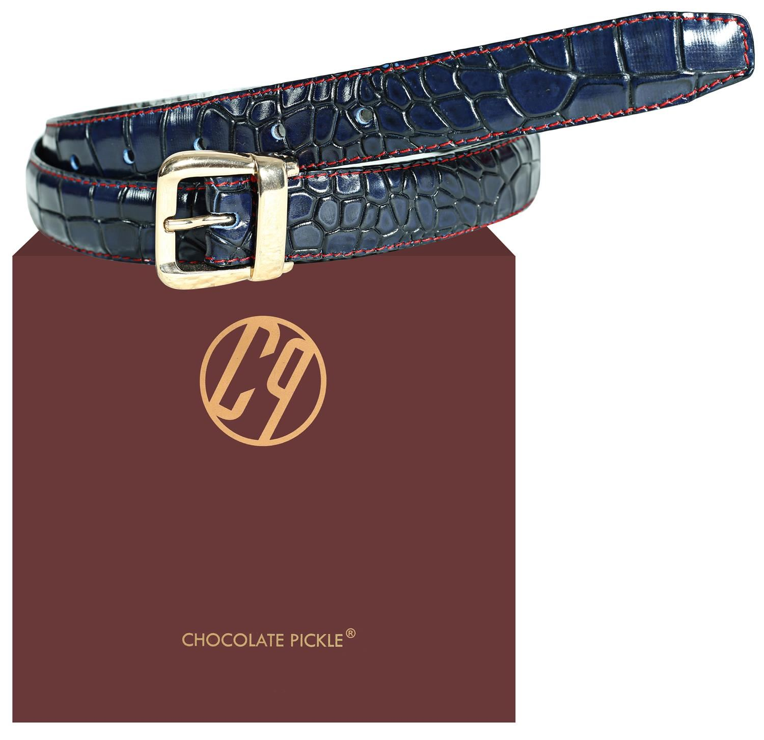 New Womens 25mm Blue Crocodile Cut Contrast Stitched Genuine Leather Belts
