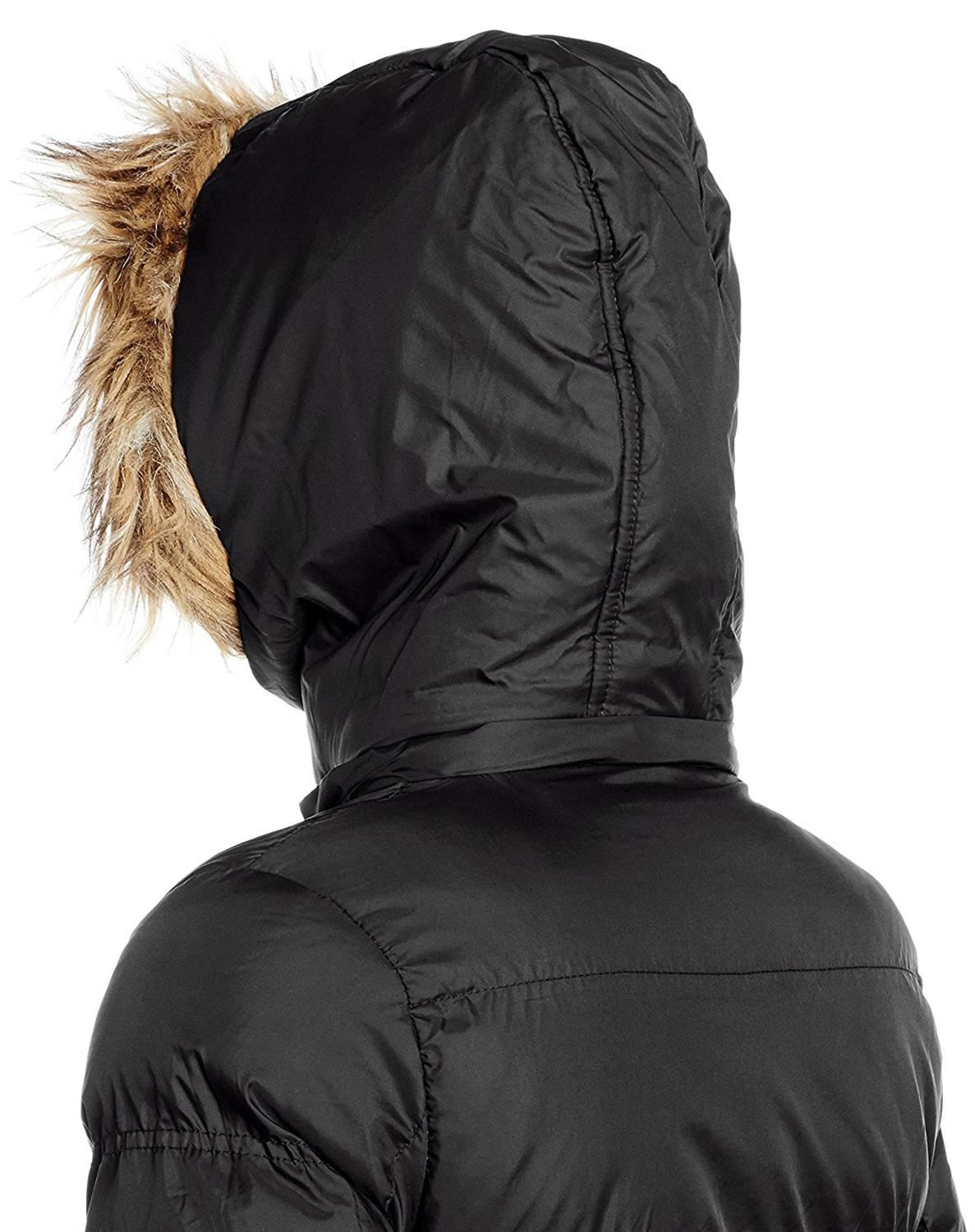 New Womens Winter Fur Collar Hooded PaddedCoatQuilted Puffer Parka Jacket 8-24