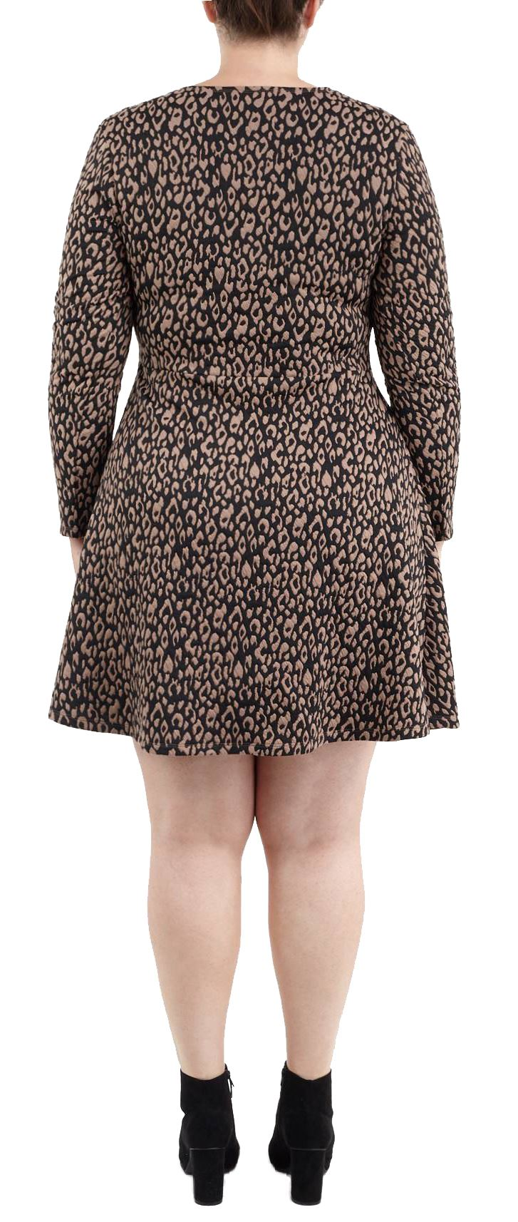 New Ladies Jacquard Print Long Sleeve Skater Swing Dress 16-22