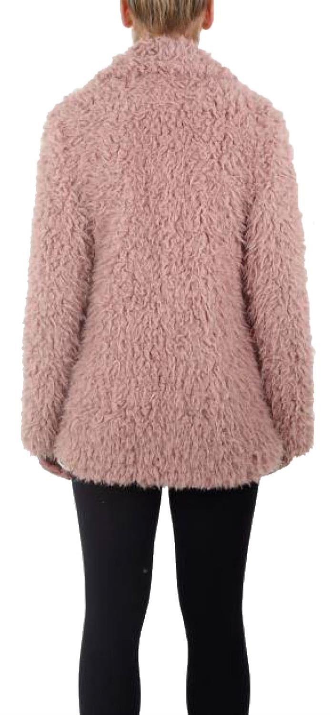 Ladies Long Shaggy Soft Fluffy Faux Fur Popper Fastening Jacket Coat 8-22