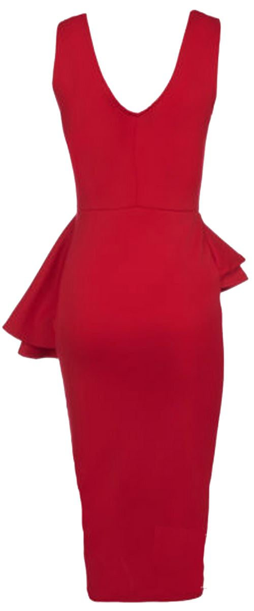 New Ladies  Plus Size Side Slant Double Frill Long Bodycon Midi Dress 8-26