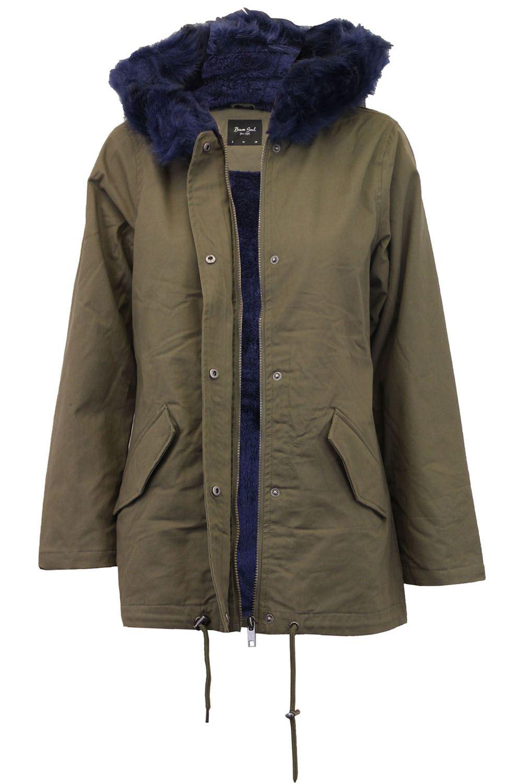 New Ladies Multicolor Fleece Lined Fur Hooded Winter Coat Parka Jackets 8-16