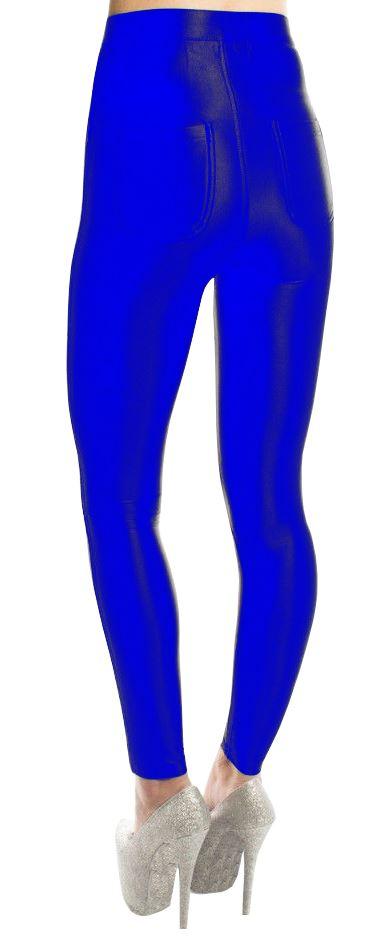 New Ladies Shiny High Waist Stretch Skinny Disco Pants Trousers Leggings