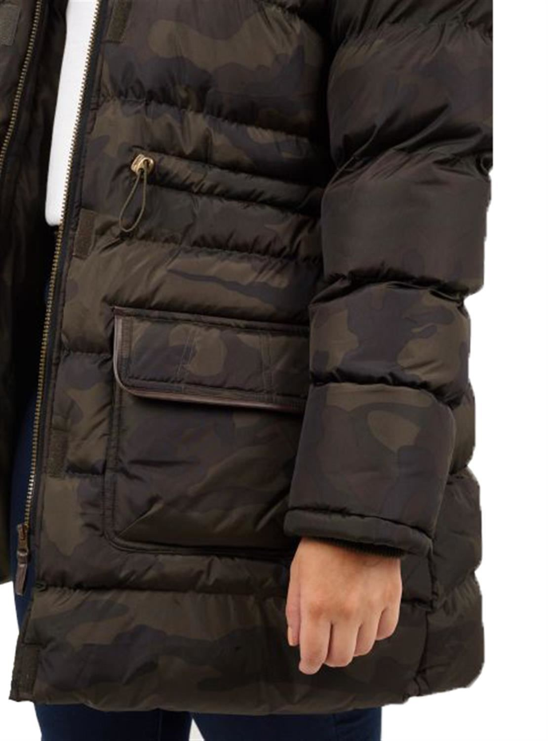 New Ladies All Over Camo Print Fur Hooded Trim Padded Parka Jacket Coats