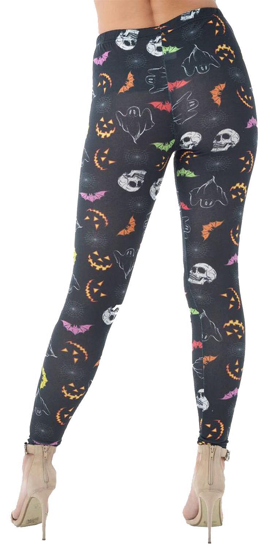 Nuevo Dama Halloween Calabaza Calavera Rosa Impresión elástica ajustados Leggings 8-14