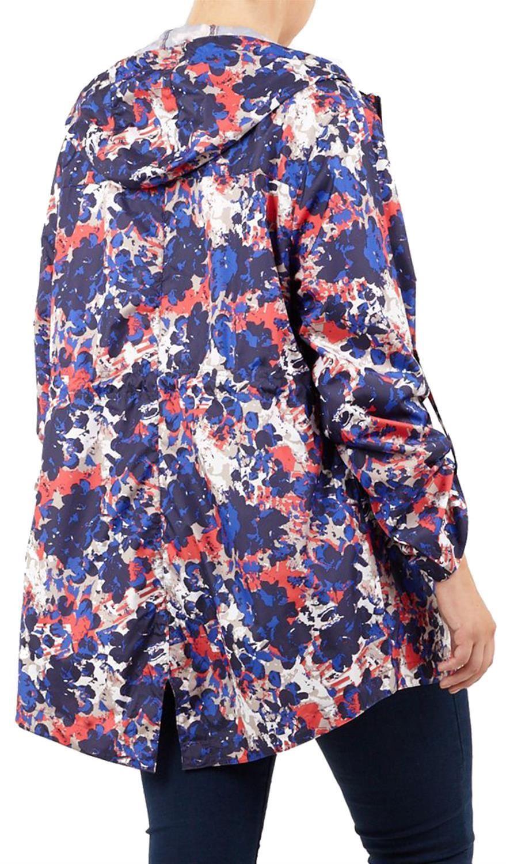 New Ladies Abstract Splash Fishtail Parka Mac Jacket Showerproof Hooded Raincoat