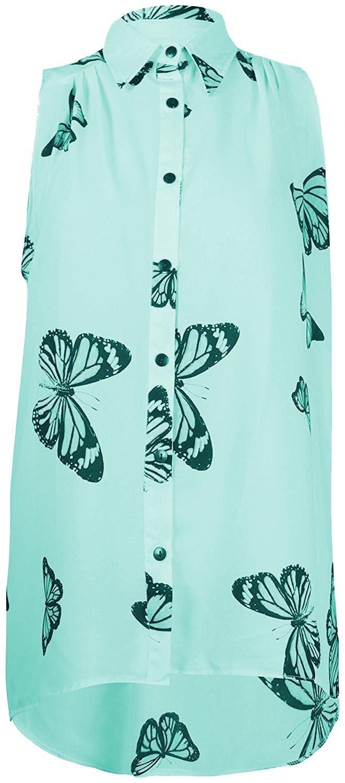 La surveillante Dernières papillon design sans manches en mousseline de soie inégale Dip Ourlet Débardeur 14-28