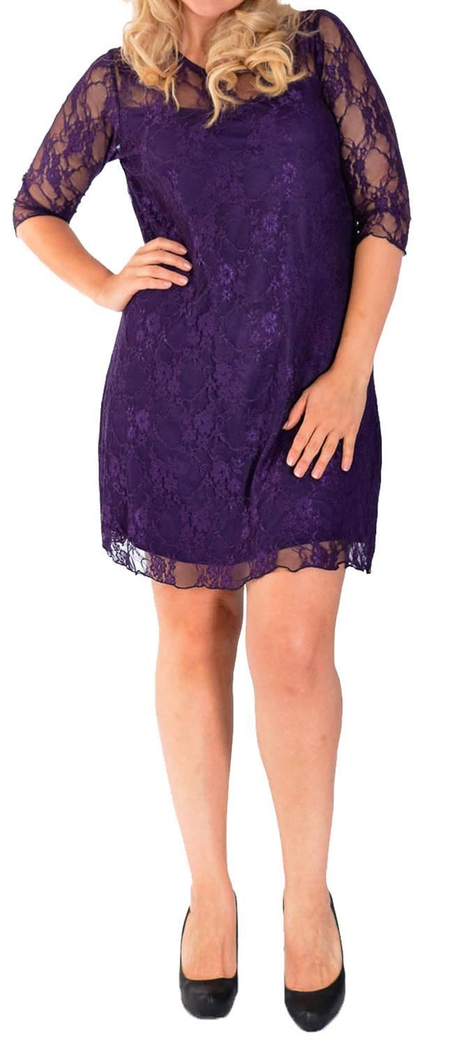 New Womens Plus Size 3//4 sleeve Contrast Colored Lined Floral Lace Dress 14-28