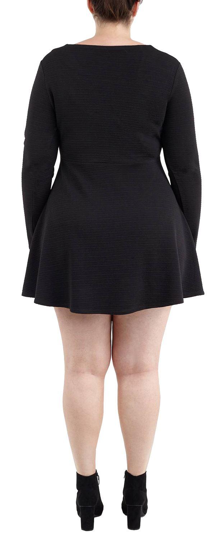New Ladies Plus Size Long Sleeve Zip Front Zipper Skater Dress 16-22