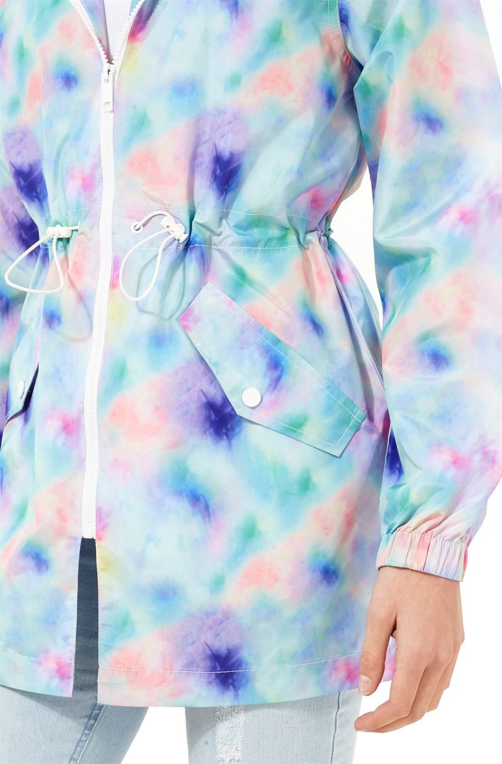 New Womens Lolos Plus Showerproof Pastel Tie Dye Hooded Mac Coat Jacket 18-24