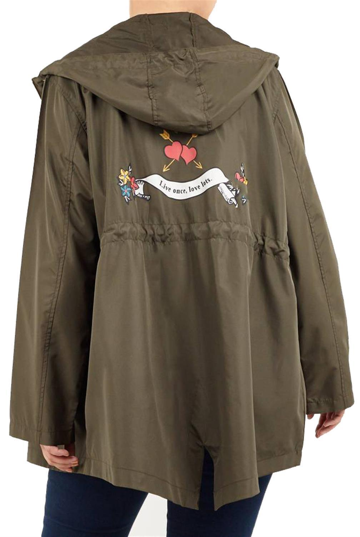 New Womens LOLO Awesome Print Fishtail Parka Showerproof Raincoat Jacket 4-20
