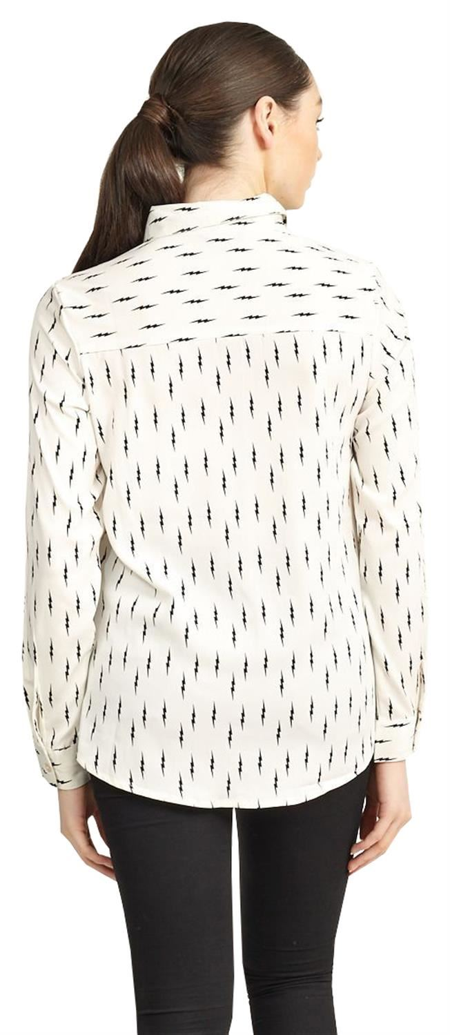 Ladies Plus Size Lightning Bolt Design Print Collar Long Sleeve Shirt Top 16-22