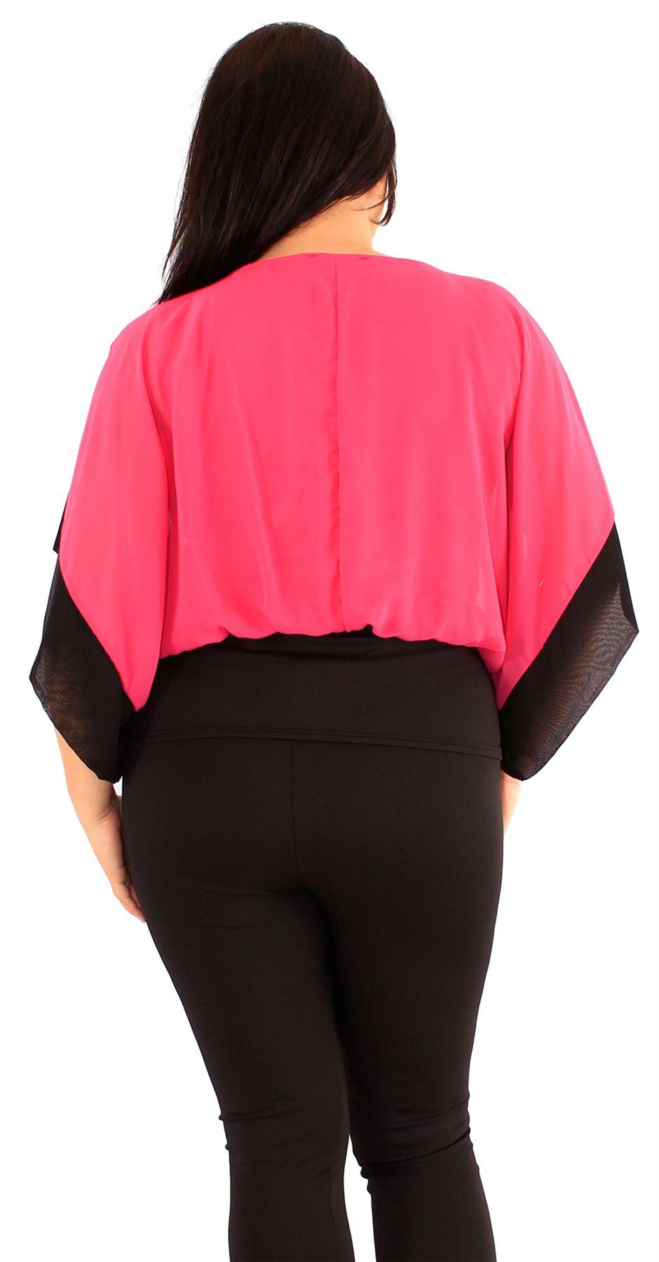 Nouveau Trendy femmes Plus Taille Contraste Couleur Corset Ourlet kimono manches Tops