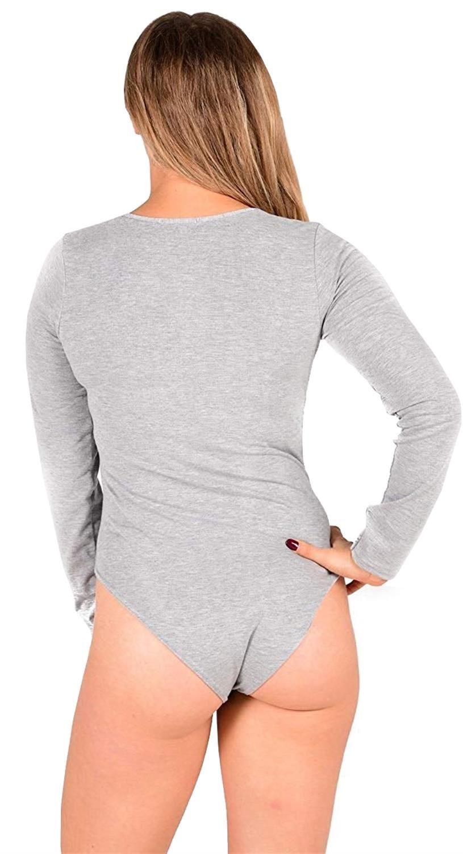 New Ladies Plunge V Neck Leotard Bodysuit Body Top 8-14