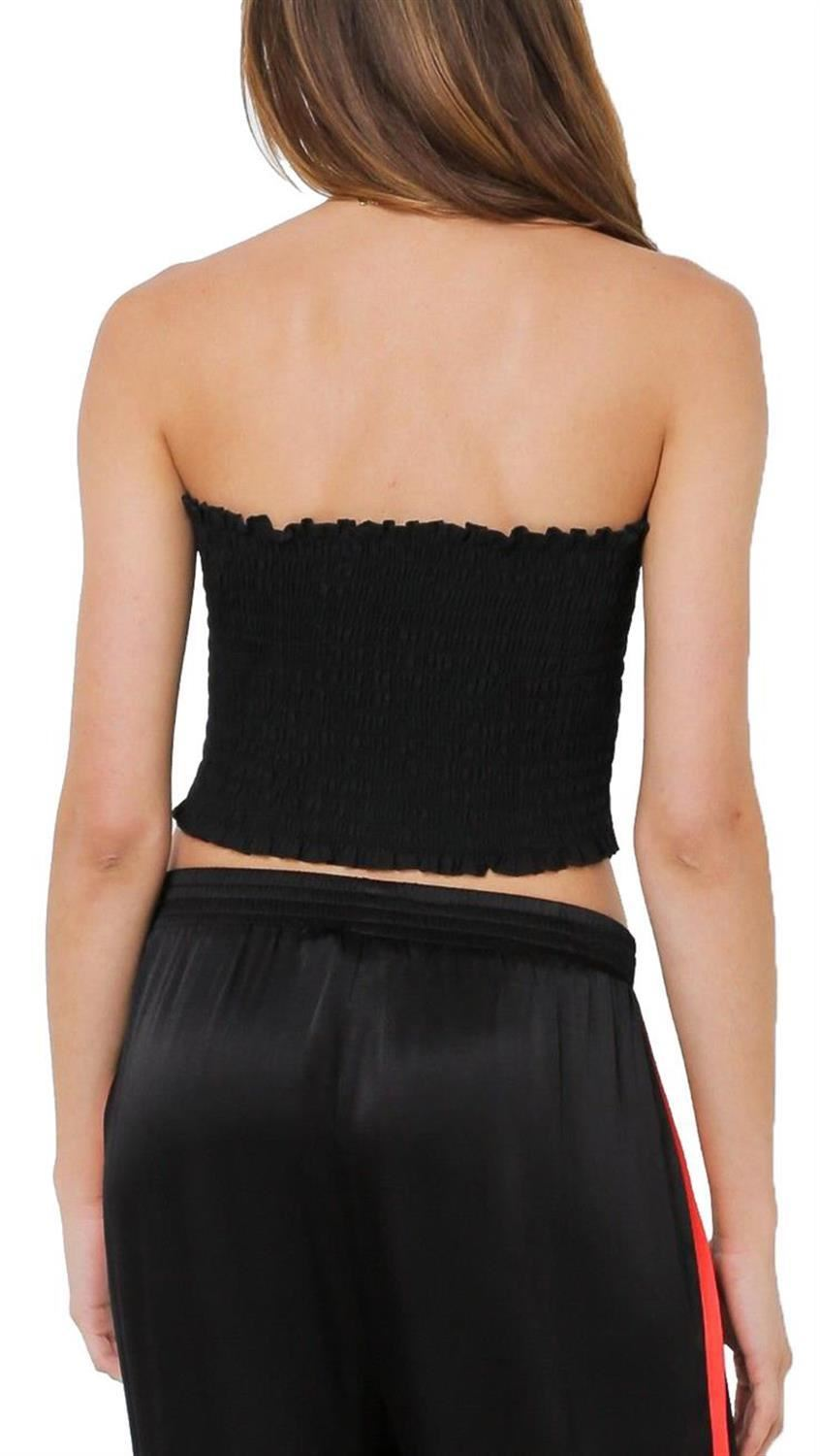 Womens Sheering Boob Tube Gather Strapless Bandeau Shirred Crop Tops 8-14