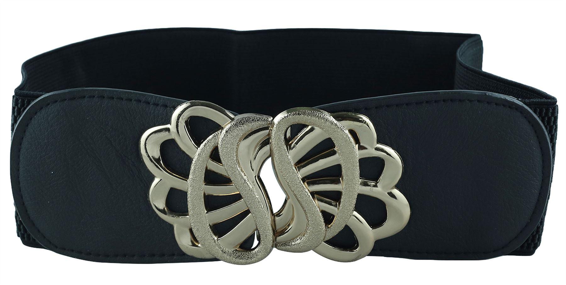 Da Donna Floreale Interblocco fibbia Stretch elastico in vita Cinture di Pelle PU Taglia Unica