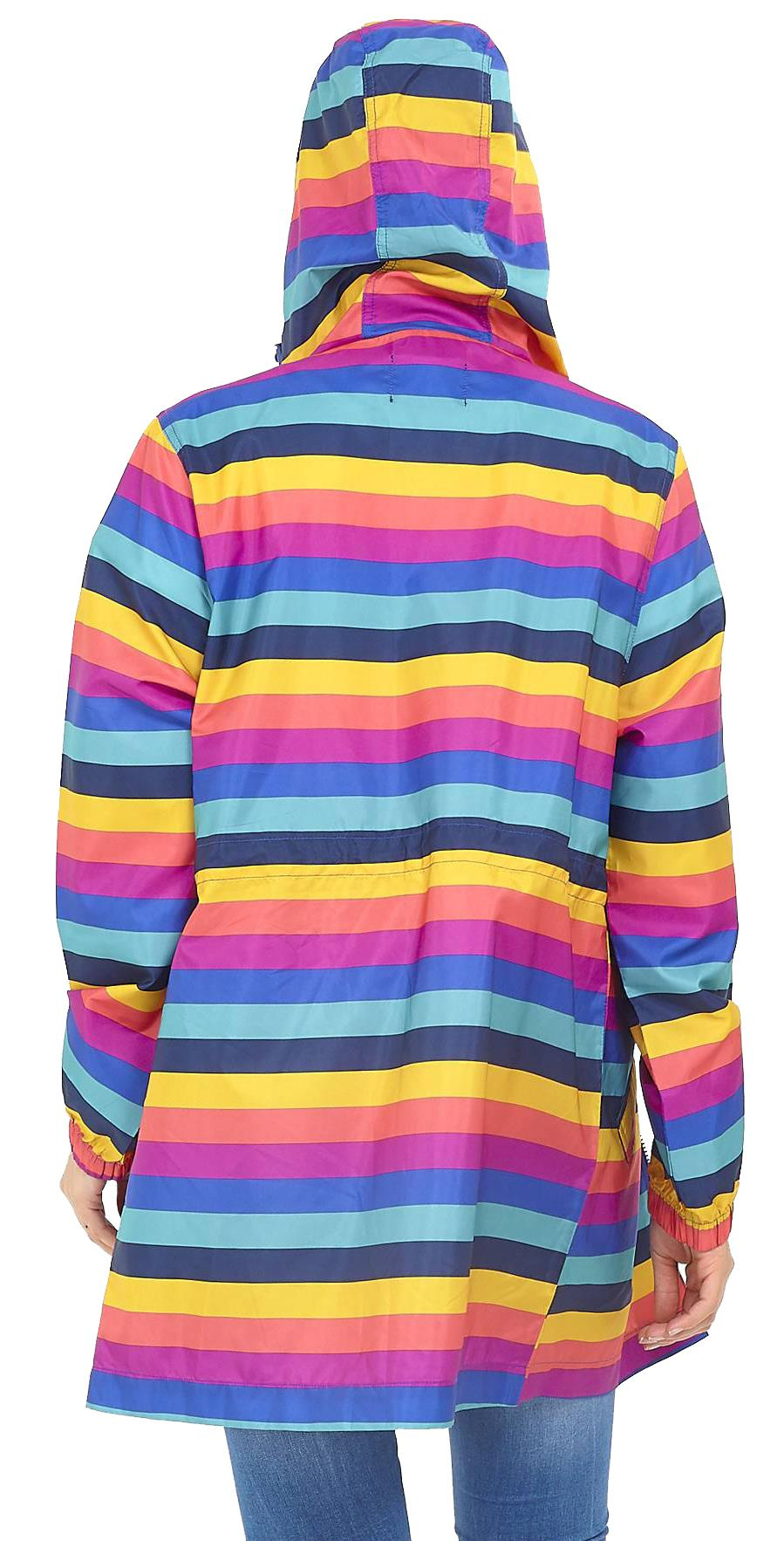 Womens Rainbow Stripe Print Fishtail Festival Hooded Mac Raincoat Jacket