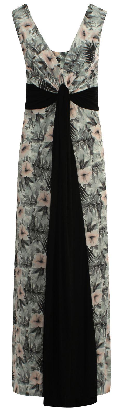 Womens Plus Size Grecian Boob Knot Contrast Panel Floral Print Summer Maxi Dress
