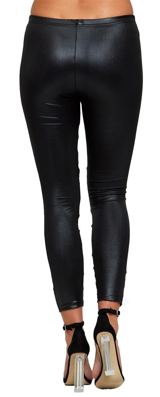 New Womens Black Skinny Wet Look Cut Out Mesh Leggings Pants 6-12