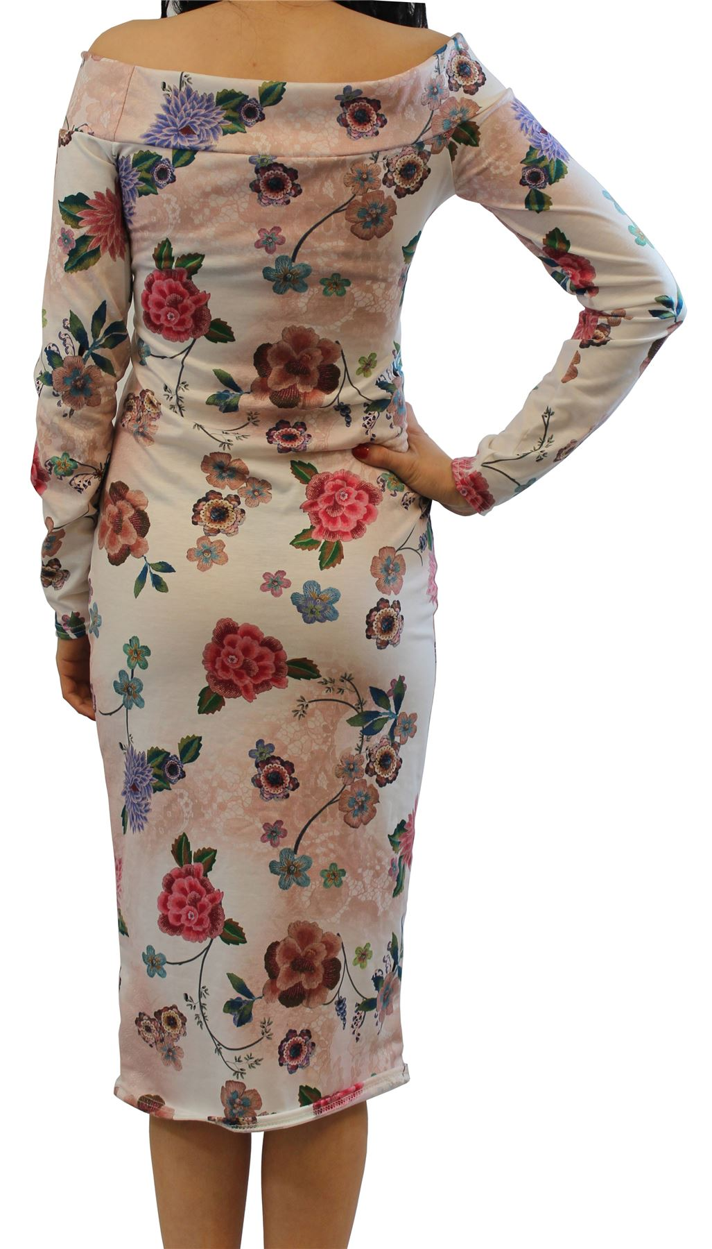 New Ladies Long Sleeve Off Shoulder Printed Bodycon Midi Dress 8-22
