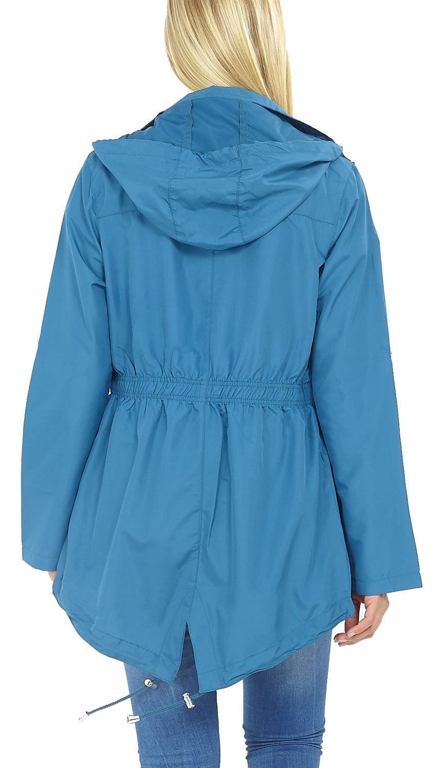 New Womens Drawstring Detachable Hooded Mac Parka Fishtail Raincoats Jackets