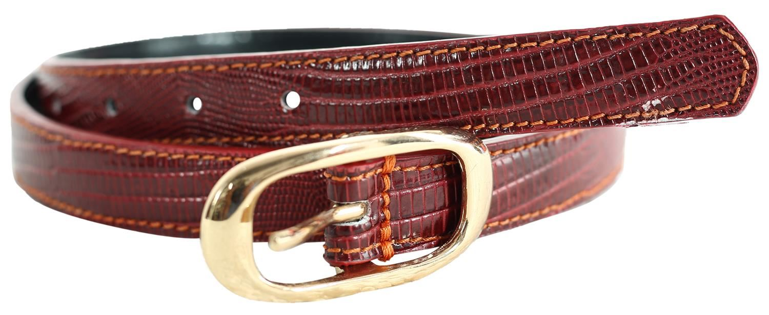 New Ladies Silver Pin Buckle Crocodile Textured Stitched Leather Belts M-4XL