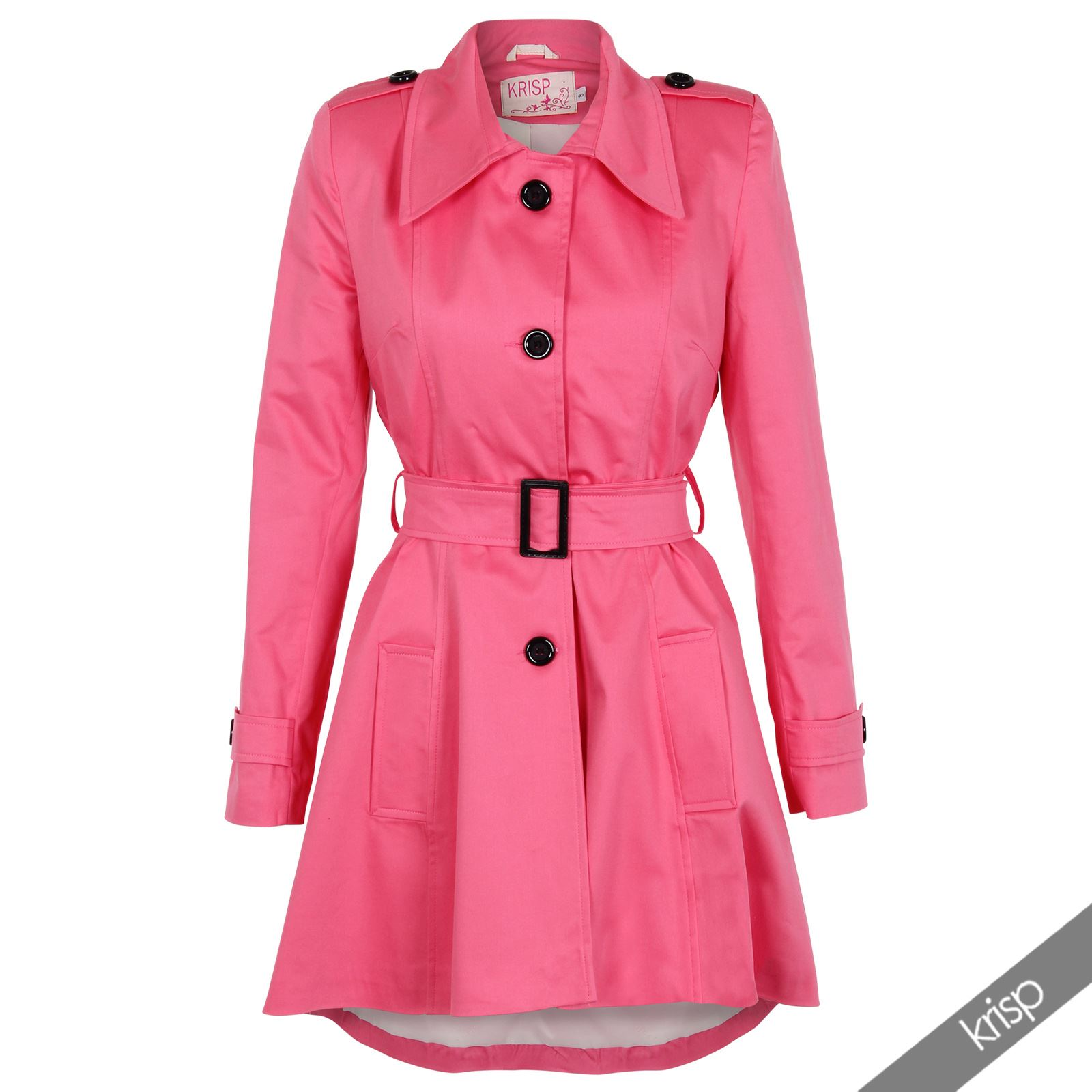 UK Ladies Classic Asymmetric Mac Jacket Womens Military Belted Trench Coat