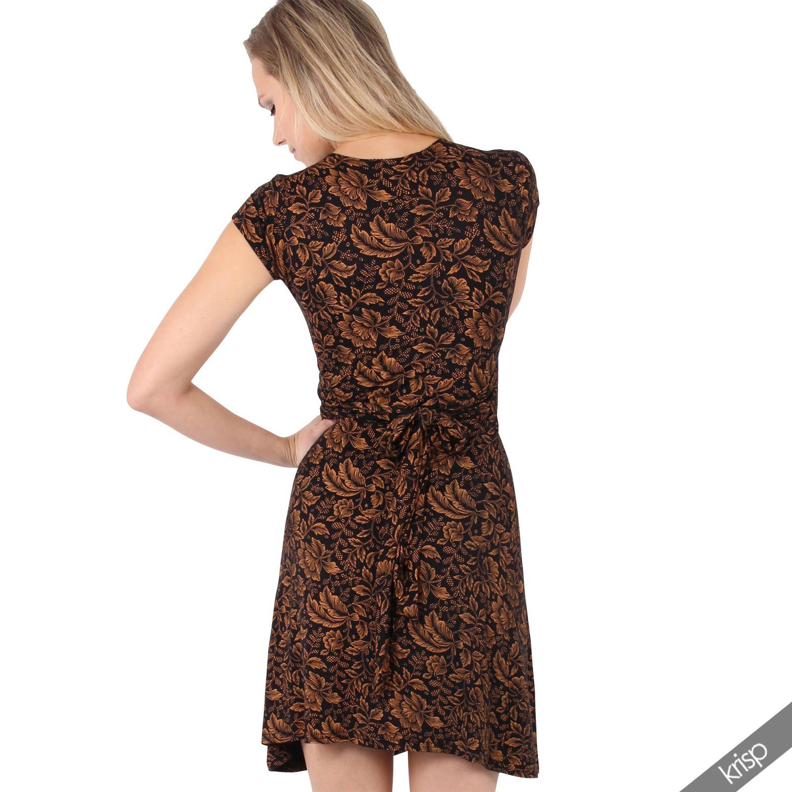 Womens Ladies V Neck Mini Midi Dress Floral Print Knot Short Skirt Party Casual