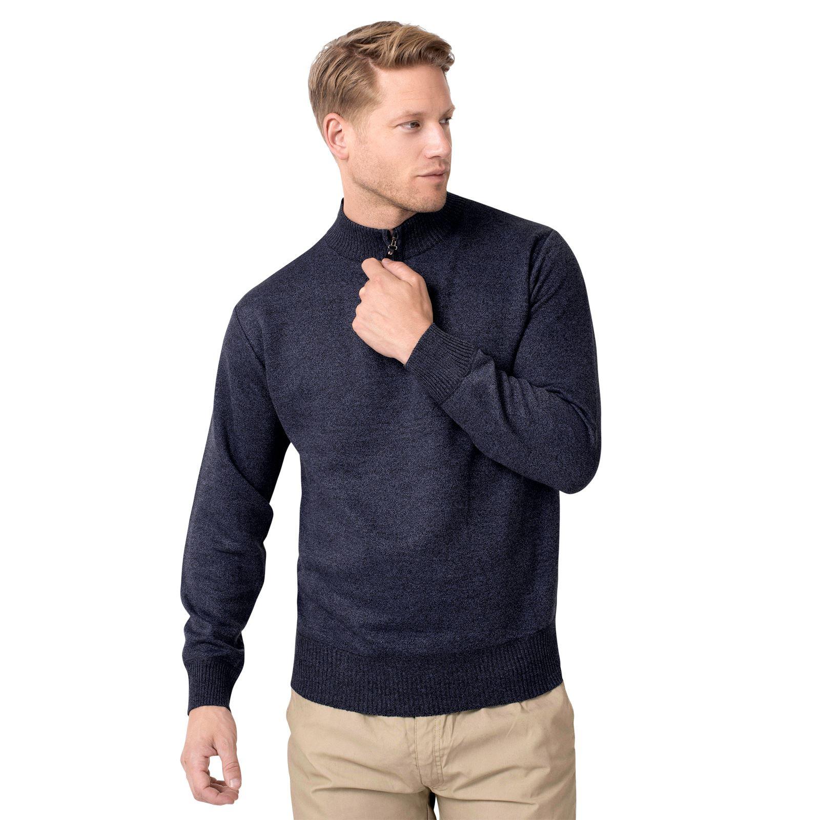 Pull-Homme-Laine-Hiver-Pas-Cher-Col-Haut-Zippee-Grande-Taille-Uni-Mode-Basique