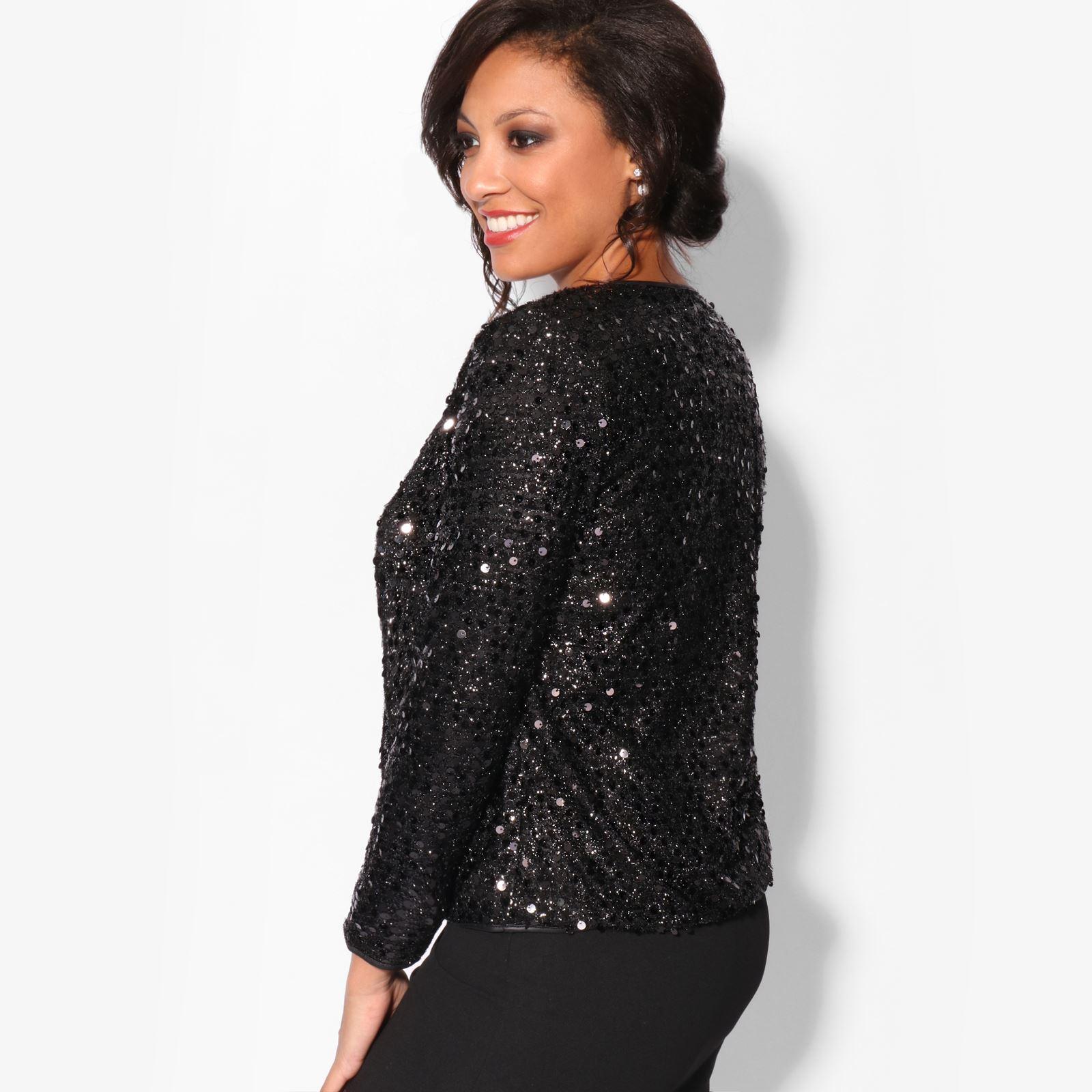 New Womens Sequin ¾ Sleeve Shrug Bolero Cropped Top  Jacket Blazer Party Evening