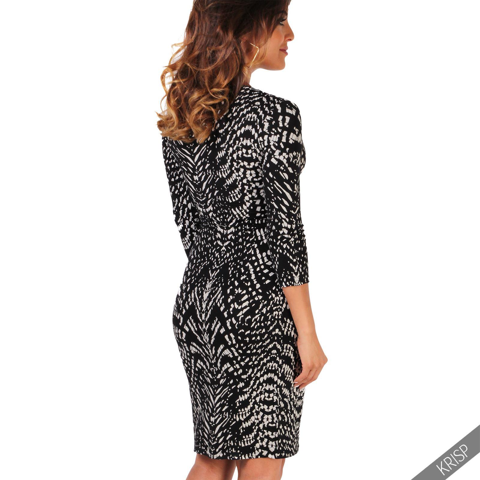 Womens V Neck Dress Top Bodycon Skirt Midi Snakeskin Print Cross Over Party Wrap