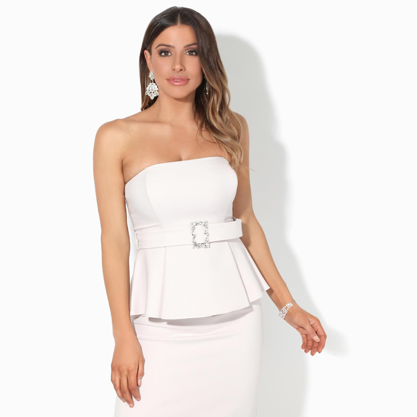 Womens Ladies Frill Dress Strapless Bandeau Bodycon Peplum Midi Party Evening