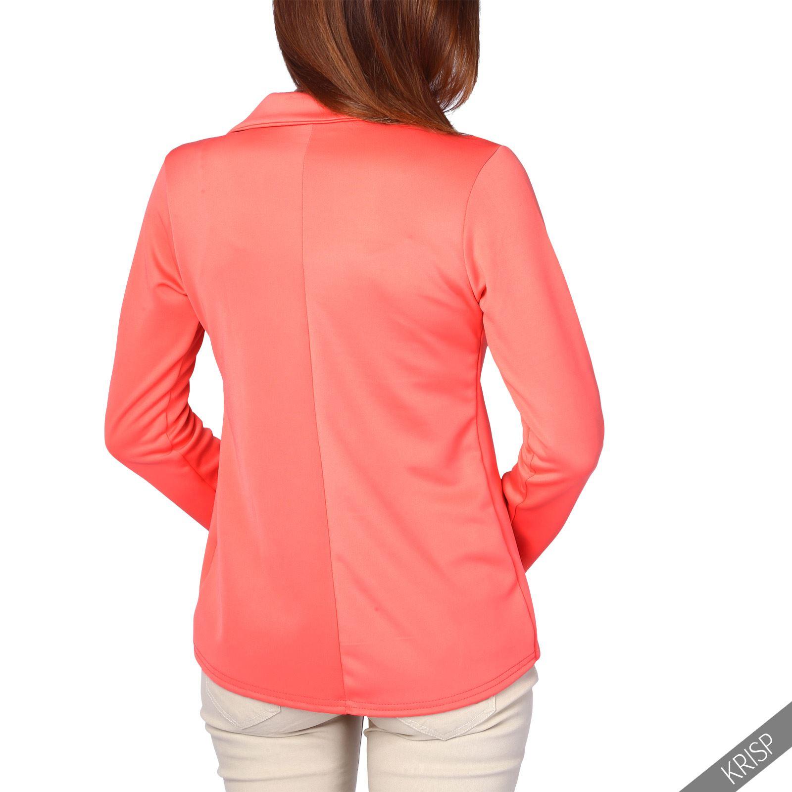 Womens Blazer Suit Top Jacket Casual Smart Ladies Jersey Office Evening Coat