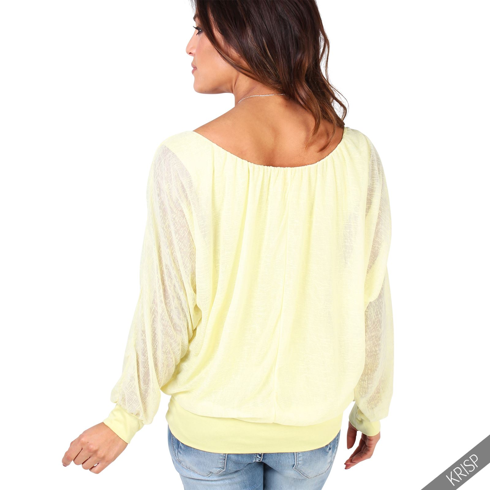 Womens Off Shoulder Blouse Batwing T shirt Baggy Top Chiffon Free Necklace