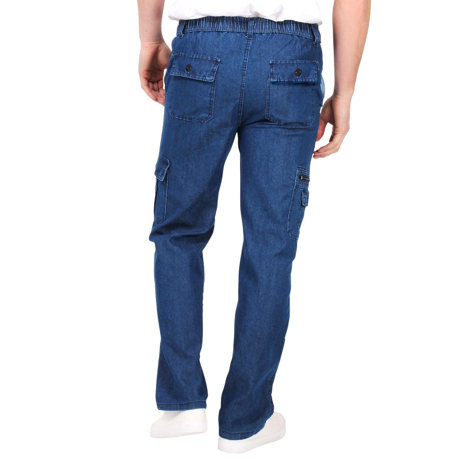 Pantalón Largo Hombre Vaquero Bolsillos Cargo Cintura Elástica Cómodos Verano