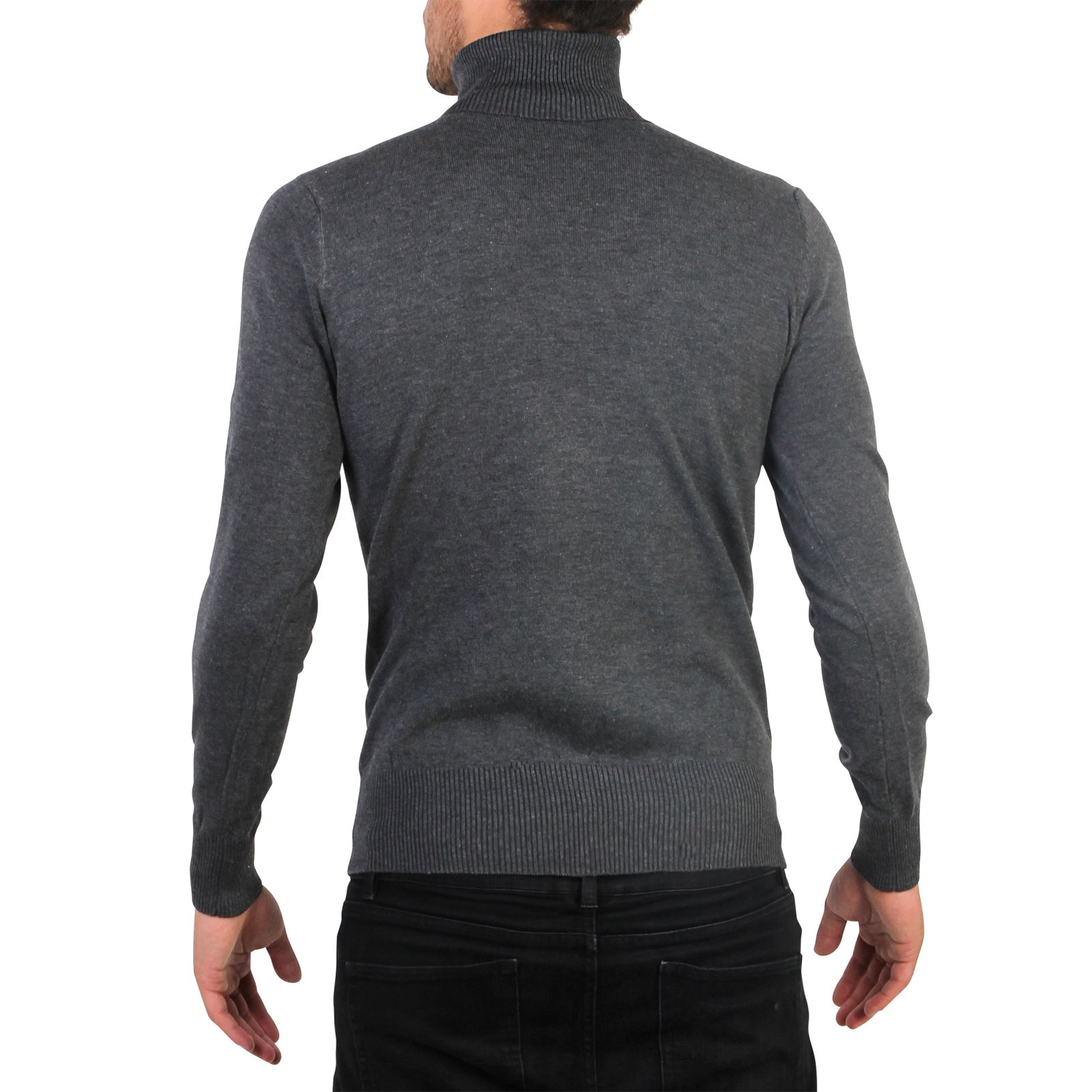 Mens Turtle Neck Roll Jumper Sweater Cotton Knitwear Winter Pullover Polo Top