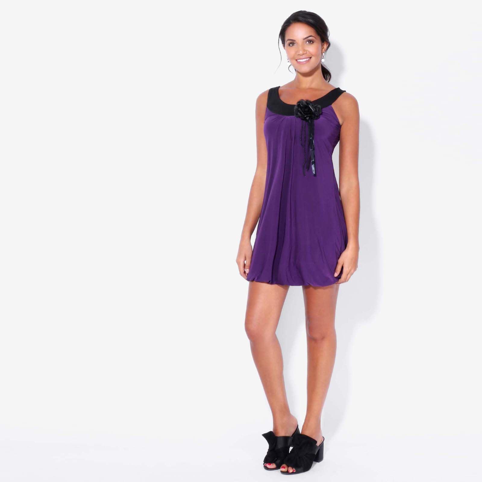 Damen Tunika Mit Anstecker Mini Kleid Trägerkleid 20er Jahre Swing Retro Top