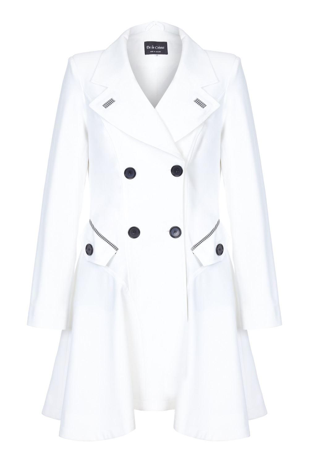 DE La Creme-da donna primavera//estate Dogtooth Trim Doppio Petto flarey Mac Coat