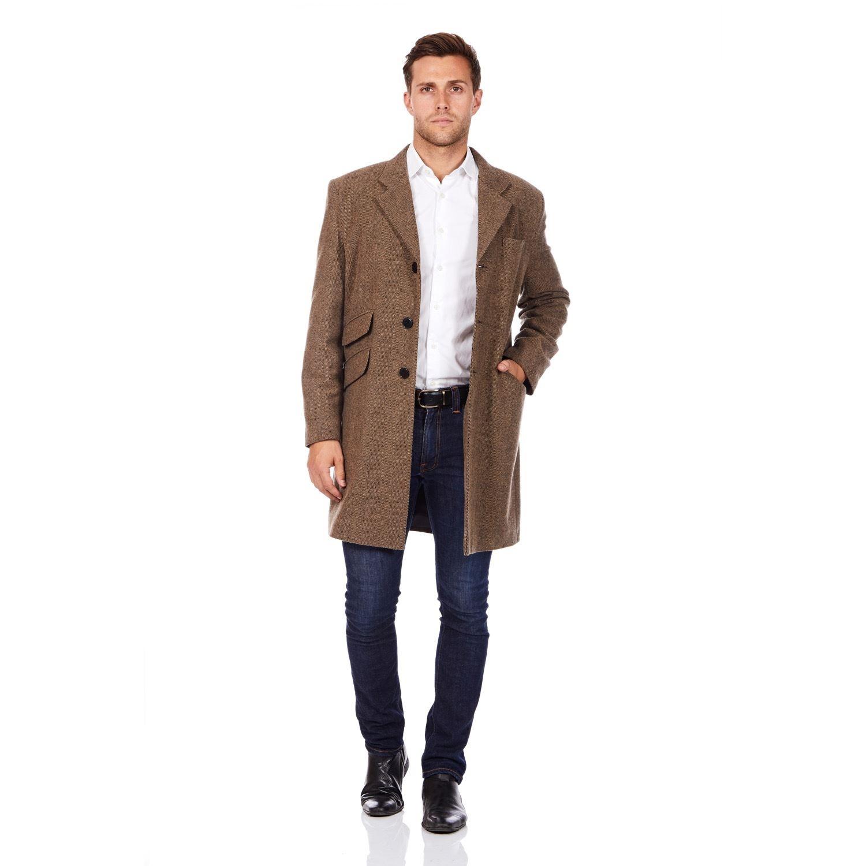 De La Creme MAN Mens Wool Blend Herringbone Design Crombie Coat