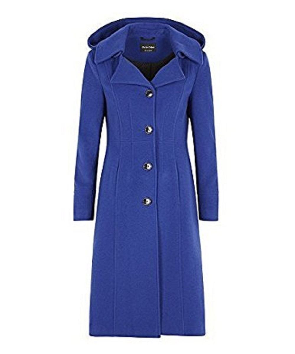Womens Wool Blend Hooded Mid Length Coat De La Creme