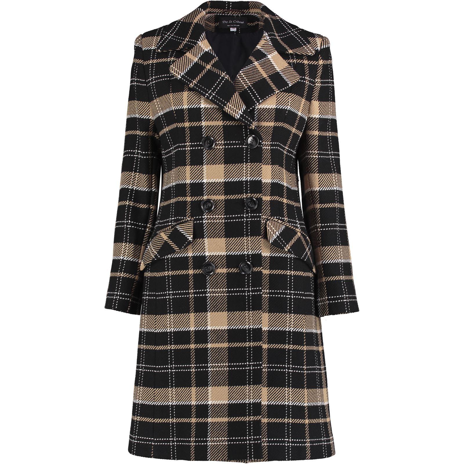 De La Creme Women/'s Tartan Check Double Breasted Coat