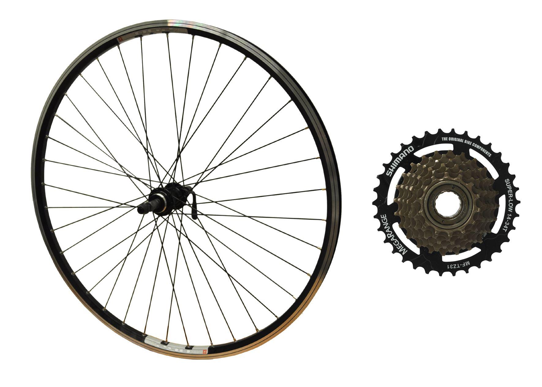 700c arrière hybride roue noir Mach bike rim Screwon hub /& Shimano roue libre