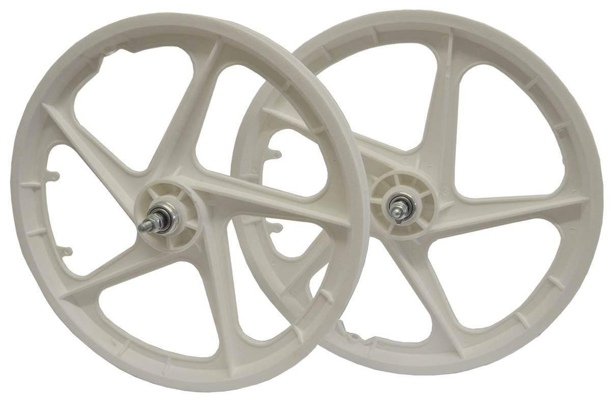 "20/"" BMX Mag Wheelset 5 or 6 Spoke Freestyle Bike Colour Wheels FRONT /& REAR"