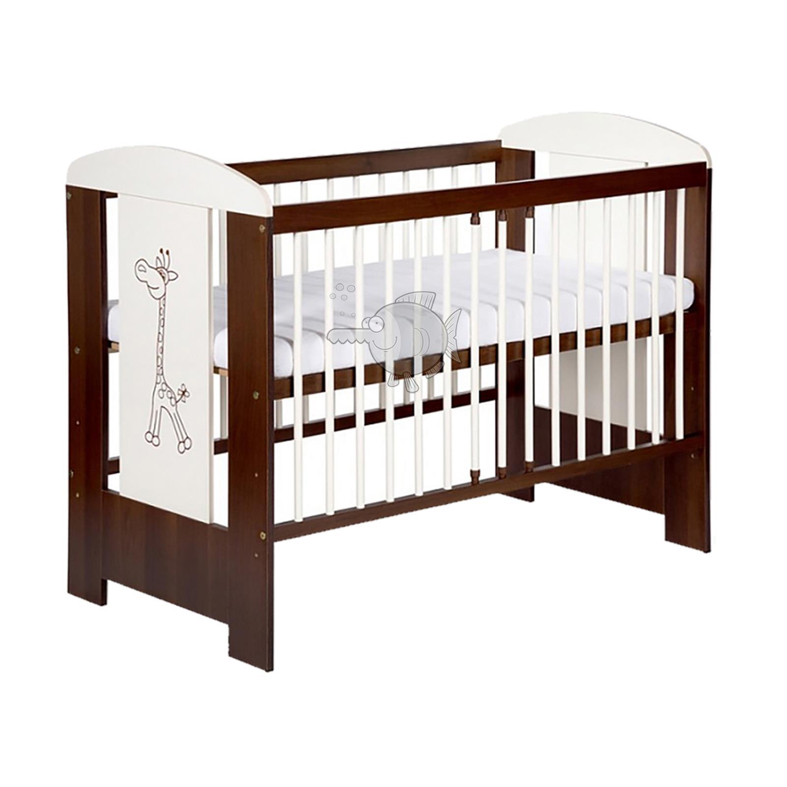 Wooden Baby Cot Bed Newborn Giraffe Crib Buckwheat Coconut Foam Mattress Drawer